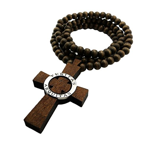 Mens Wood Veritas Aequitas Cross Pendent Boondock Saint Ball Bead Chain Necklace