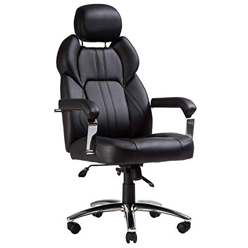 TOPSKY Executive Office Chair Large Leather Chair with Adjustable Headrest High Back New Black…