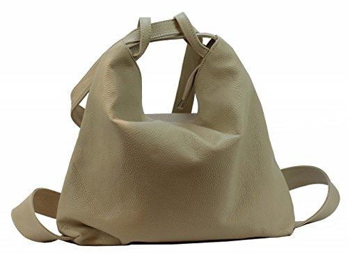 BZNA Bag Mia ljus beige backpacker designer ryggsäck läderväska damhandväska axelväska läder Italyny