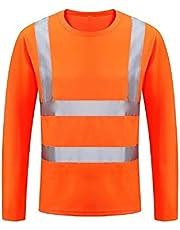 HYCOPROT Camiseta reflectante de manga larga de malla de seguridad de secado rápido de alta visibilidad