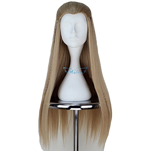 [Angelaicos Unisex Braids Prestyled Straight Halloween Costume Cosplay Party Full Wigs Long Blonde] (Legolas Wig)