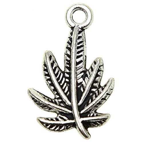 Pomeat 50 Pieces Antique Silver Pewter Marijuana Leaf Charm Zinc Alloy Marijuana Leaf Pendant for Jewelry Making