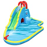 Sunny & Fun Deluxe Inflatable Water Slide Park - Heavy-Duty Nylon for Outdoor Fun - Climbing Wall, Slide, & Splash Pool - Easy to Set Up & Inflate with Included Air Pump & Carrying Case