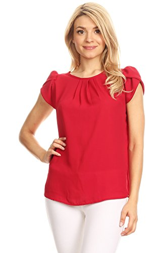 - VIA Jay women'sBasic Casual Simple Short Puff Sleeve Relaxed Blouse TOP (Large, Cherry)