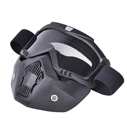 clear CHCYCLE motorcycle motocross face mask with detachable Goggles