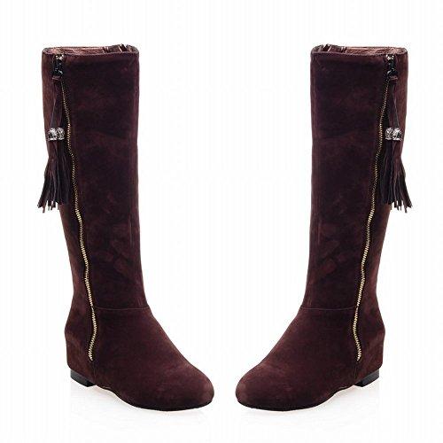 Carolbar Womens Pendant Tassels Fashion Multi Zipper Hidden Wedge Heel Dress Boots Brown