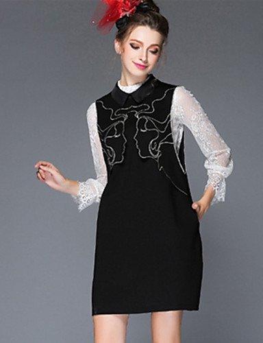 GSP-Damen Kleid - Übergrößen Übergröße / Retro / Party / Arbeit / Leger Solide / Patchwork Mini Baumwolle / Nylon / Elasthan Hemdkragen