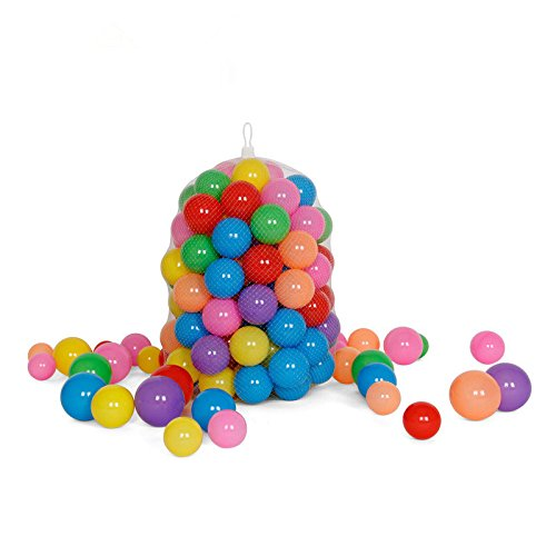 Olymstore 100pcs Multi-Colored Ocean Ball, Phthalate Free Non-Toxic Plastic Ball, Crush Proof Soft Swim Pit Playballs with 7 Bright Colors for Baby Kids Tent Toy Game Party, 3.2'' / 8cm Diameter