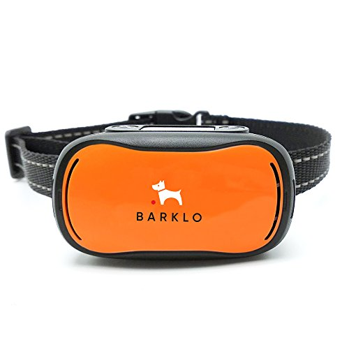 Dog Bark Collar For Small To Large Dogs by BARKLO Rechargeable And Waterproof Vibrating and Shock Feature Anti Bark Training Device (Orange)