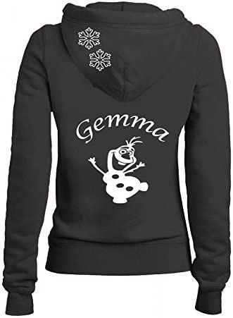 Girls Black Full Hoodie Personalised with White Frozen Design