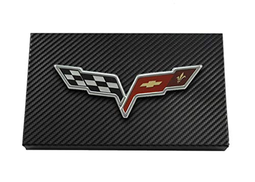 C6 Corvette Black Carbon Fiber Wrapped Fuse Box Cover - Crossed Flags