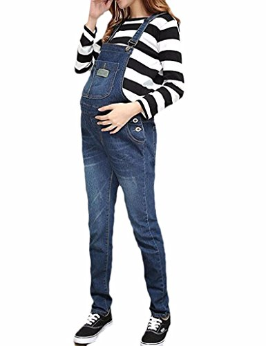 - Klorim Soft Adjustable Denim Bib Maternity Overall (Large)