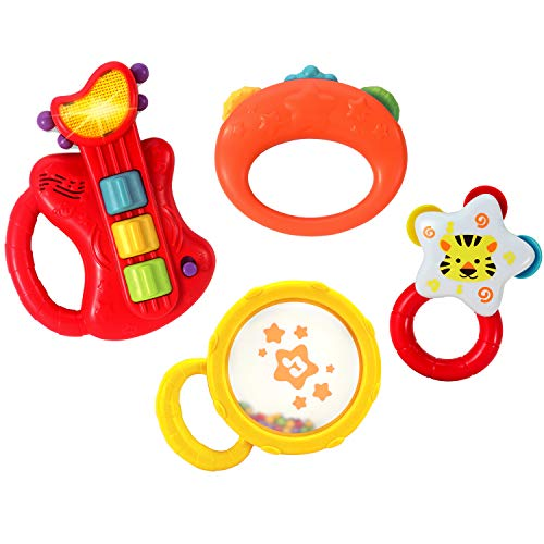 KiddoLab Musical Kids Instruments Set with Electric Toy Guitar and Rattles. Toys for Early Development, Music Educational Learning for Babies. 3 Months and Older