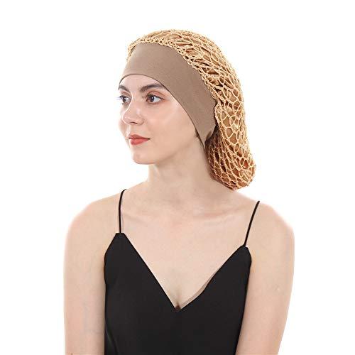 DuoZan Vintage Elastic Wide Band Snood Bonnet Double Layered Hair Net Night Sleep Hat Crocheted Slouchy Beanie - Hair Net Crocheted