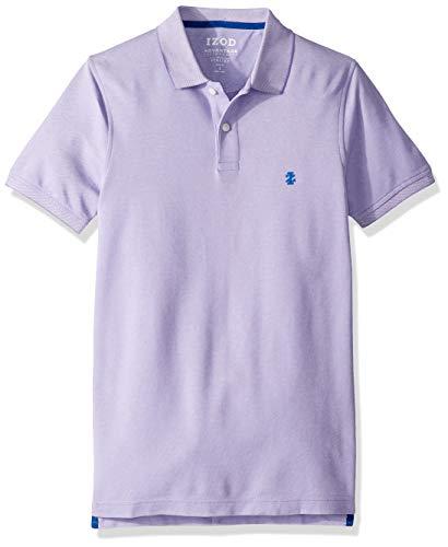IZOD Men's Slim Fit Advantage Performance Short Sleeve Solid Polo, Dahlia Purple, Large ()