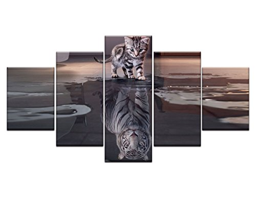 Cat Canvas Tiger Painting 5 piece Artwork Multi panel Wall Art,Cute Animal HD Prints Pictures Inspiration Giclee for Living Room Home Decor Wooden Framed Stretched Ready to Hang (Cute Halloween Pictures)