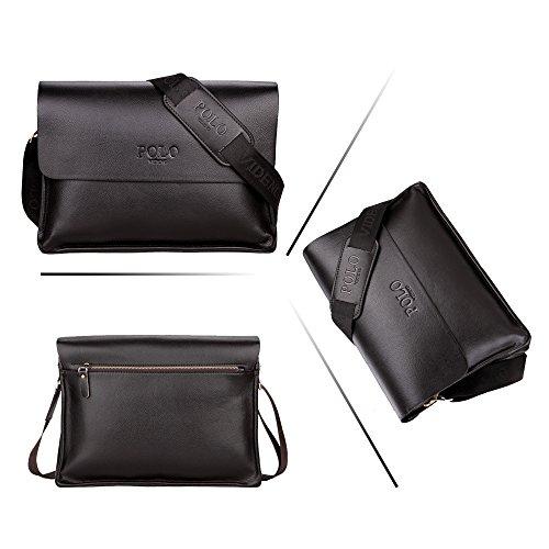 (JN1011-D2) Bolso de hombro para hombres en piel de vaca con la capa superior Bolso de 3 vías Bolso de hombro 2 modelos de cuero genuino-bolsa de bronce Negro 2