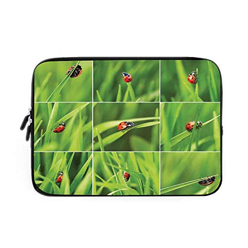 (Ladybug Laptop Sleeve Bag,Neoprene Sleeve Case/Ladybug Over Fresh Grass Collection Divided Collage Vibrant Life Lawn Foliage Theme/for Apple MacBook Air Samsung Google Acer HP DELL Lenovo ASU)