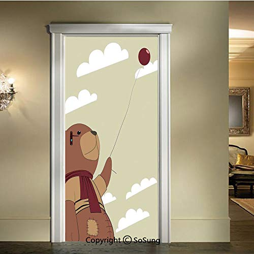 baihemiya 3D Door Wallpaper Stickers,A Melancholic Teddy Bear with Scarf Holding a Balloon Clouds in The Sky Clipart,W30.3xL78.7inch,Suitable for Any Dry,Flat surfaceBeige Cinnamon