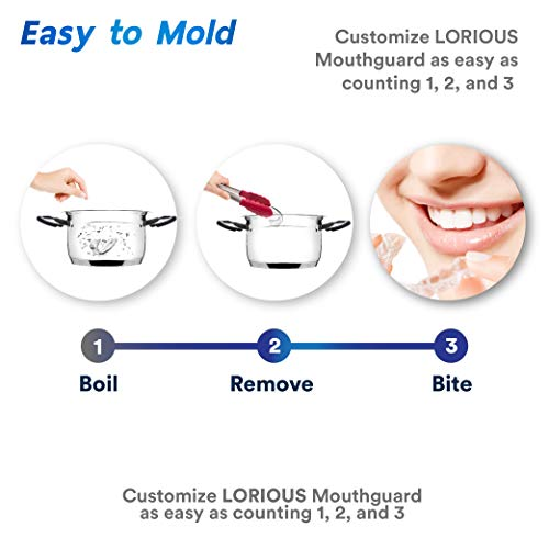 LORIOUS Mouthguard - One Size Fits All Premium Set of 6 BPA Free Moldable, Customizable and Trimmable Medical Grade Mouth guard for Grinding Teeth Clenching Bruxism, Sport Athletic, Whitening Tray