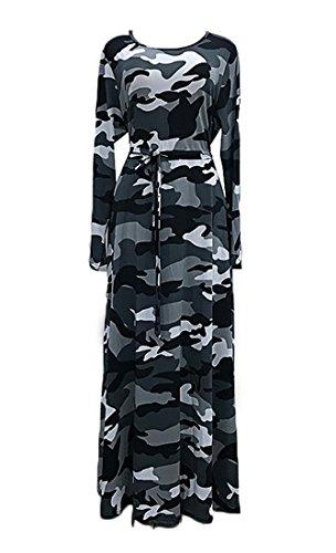 WANEE Women's Plus Size Printed Camouflage Long Sleeve Maxi Dress (XXXX-Large)