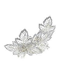 Jili Online Bridal Wedding Crystal Flower Pearls Hair Clip Headpieces Hair Accessories