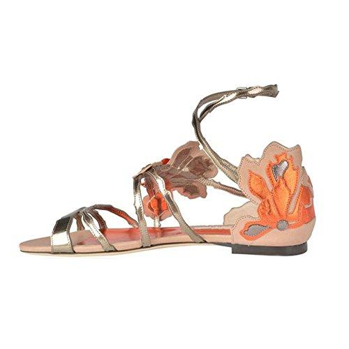 CannerCA Fashion ethnic cover heel buckle sandals flowers shoes for woman plus size party shoes women orange 6 (Party Store Burlington Vt)