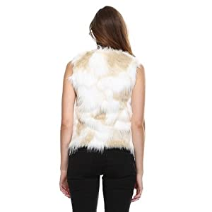 Stay Warm in Style Faux Fur Vest, Cream - Large