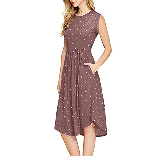 TOTOD 2019 New Dress for Women - Summer Pleated Polka Dot Pocket Loose Swing Casual Midi Dresses - Wang Vera Dress Pleated