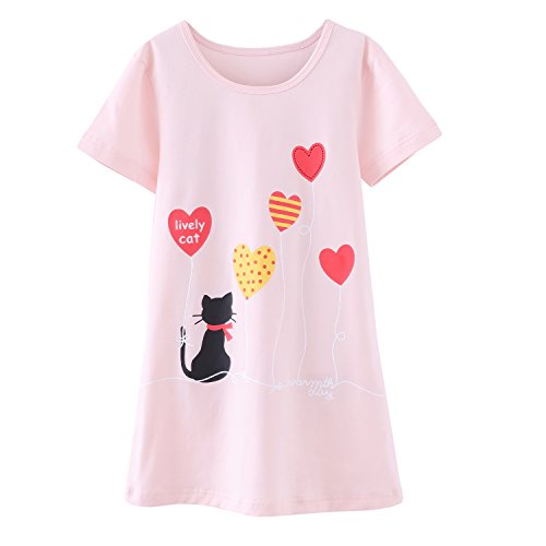 Abalaco Girls Kids Cotton Summer Cartoon Nightgown Sleepwear Dress Pretty Home Dress 3-12T (11-12 Years, Pink heart) by Abalaco (Image #7)