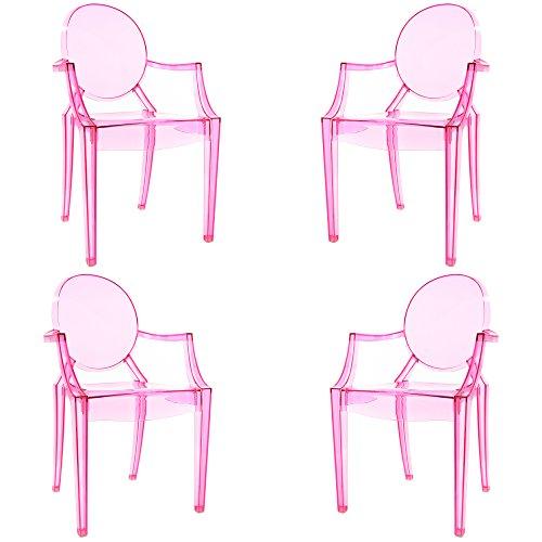 POLY & BARK EM-103-PNK-X4 Burton Arm Chair, Set of 4, Pink Review