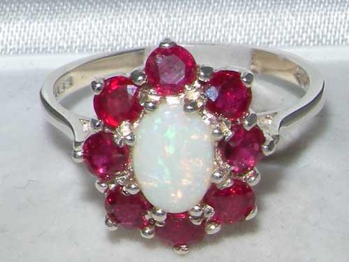 Haute Qualité Bague pour Femme en Or blanc 417/1000 (10 carats) sertie d'Opale et Rubis - Tailles 47 à 68 disponibles