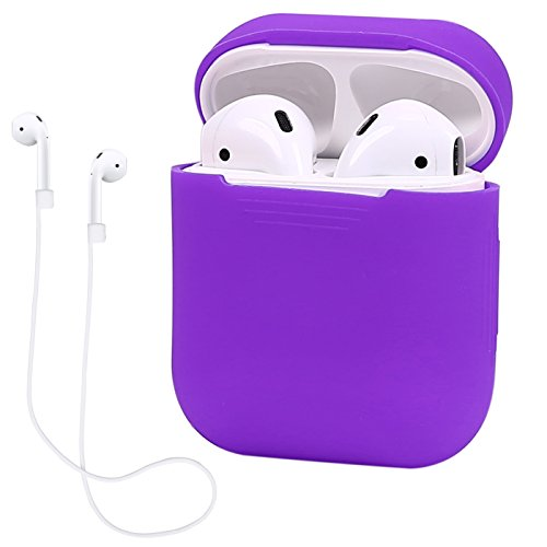 HDE Case for Airpods Protective Cover Silicone Skin for Apple Airpods Generation 2 and 1 with Included 22 Earbud Neck Strap (Purple)