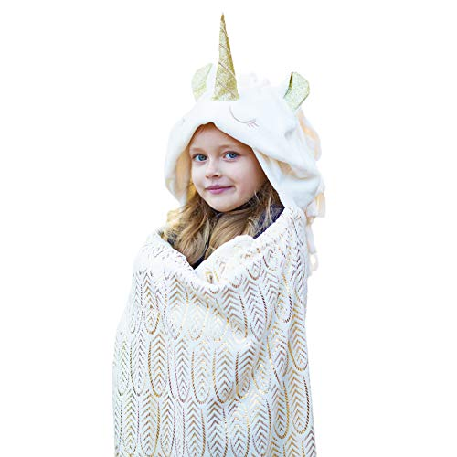 Hooded Unicorn Blanket for Girls & Adults - Kids Large Soft Plush Wearable Hoodie Bankets - Comfortable Animal Hood Throw Wrap Unicorn Cloak with Shimmering Horn & Gold Foil Design for Play & Sleep