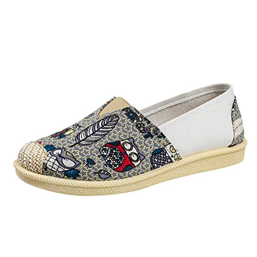 Women's Casual Canvas Boat,SMALLE◕‿◕ Women's Comfortable Slip-On Embroidery Sandal Round Open Toe Flats Loafer Gray