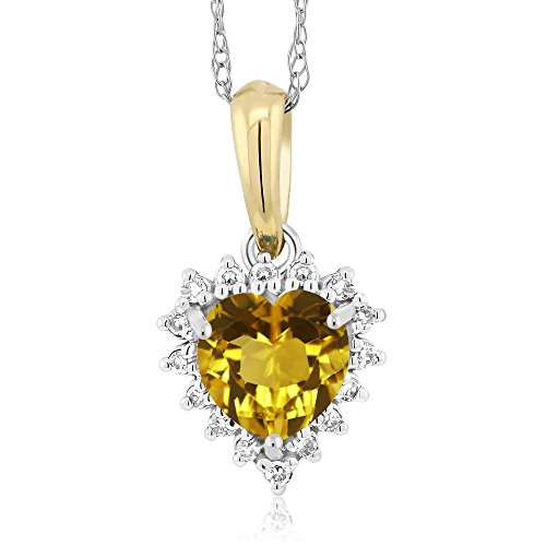 18K Two-Tone Yellow Citrine and Diamond Heart Shape Pendant 0.46 Ct (0.46 Ct Heart)