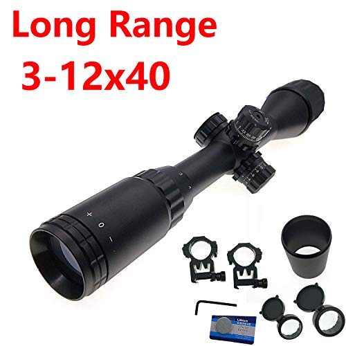 (Huntiger Hunting 3-12x40 Long Range Sniper Scout Rifle Scope RGB Illuminated AO Airsoft Scope 12x Scope Mil-Dot Reticle Lens Cover&Sunshade Tube Dual Picatinny Ring Mount)