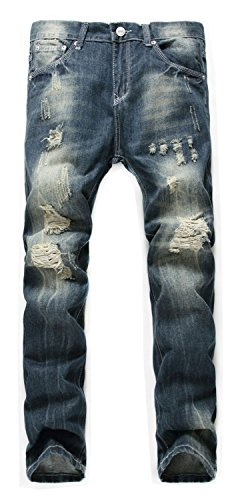 Tapered Straight Leg Jeans (Banana Bucket Men's Blue Skinny Ripped Destroyed Distressed Straight Slim Tapered Leg Jeans)