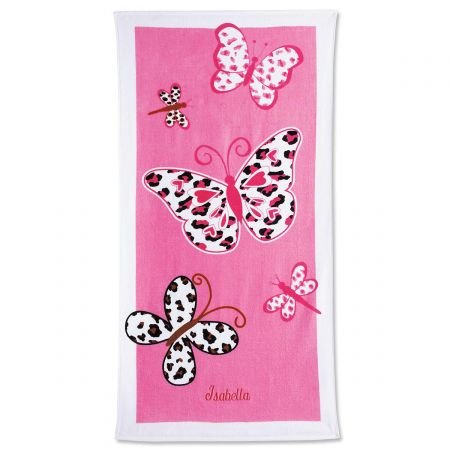 Lillian Vernon Personalized Kids Leopard Butterflies Cotton Beach Towel for Girls, 100% cotton, Custom embroidered -30