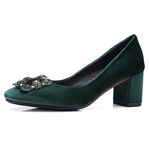 Blooming Lilac Velvet Slip On Pionted Toe Pumps for Women, Comfort Chunky Block Low Heel with Rhinestone Evening Dress Wedding Shoes Dark Green US5
