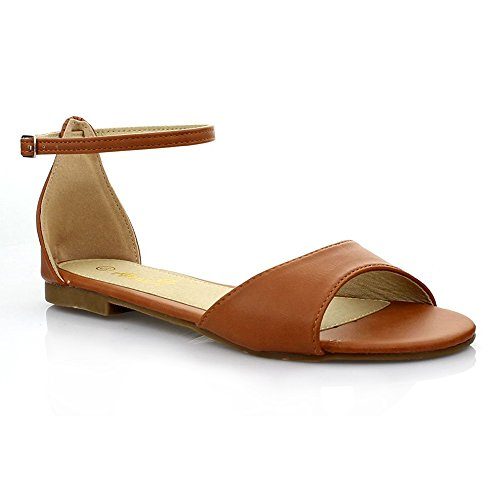 ANNA KANA Womens Casual Basic Ankle Strap Comfort Flat Sandal Camel lB1MK