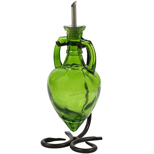 Vinegar and Oil Dispenser, Salad Dressing Bottle, Soap Dispenser for Kitchen Sink G231VF Lime Green Amphora Style Glass Bottle with Stainless Steel Pour Spout, Cork and Powder Coated Black Metal Stand