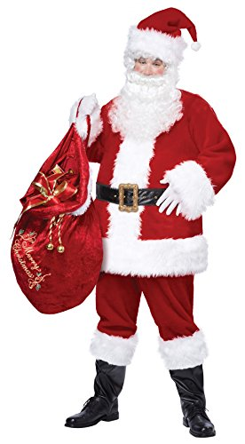 Plus Size Deluxe Santa Suit Adult Costumes (California Costumes Men's Plus-Size Deluxe Santa Suit Plus, Red/White, XX-Large)