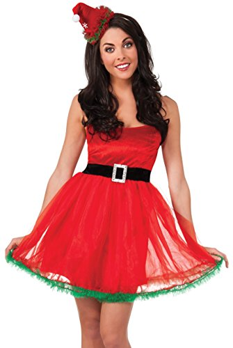 Rubie's Women's Clausplay Tutu Santa Dress with Mini Hat, Red, One Size