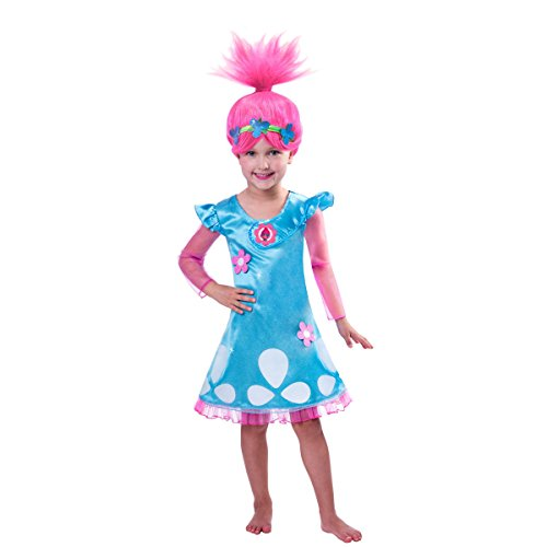Trolls Costume Trolls Poppy Cosplay Halloween Clothing Clothes Kids Fancy Girl Dress Wig Necklace -