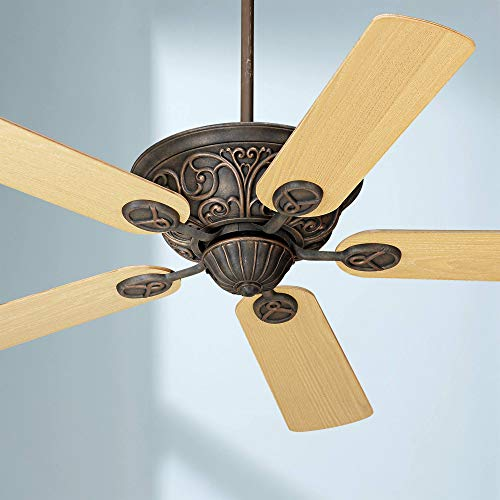 52 Casa Contessa Vintage Ceiling Fan Bronze Copper Light Oak Square Blades for Living Room Kitchen Bedroom Family Dining – Casa Vieja