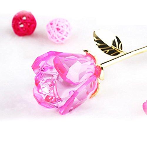 Tinksky Romantic Long Stem Crystal Rose Flower Valentine Gift Wedding Favor (Pink)