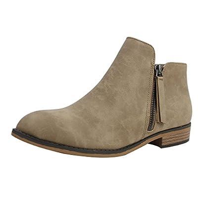 City Classified Women's Closed Toe Zipper Tassel Low Heel Ankle Boot