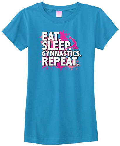 Big Girls' Eat Sleep Gymnastics Repeat Fitted T-Shirt XL Turquoise