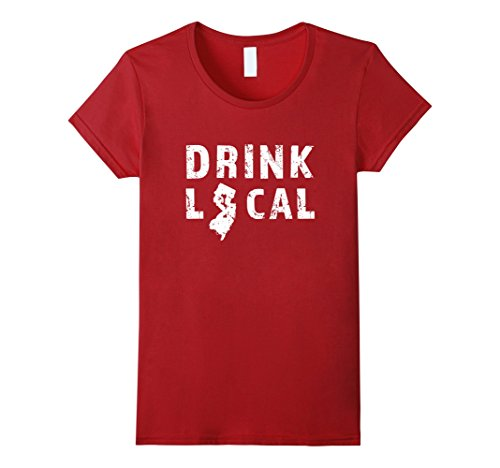 Womens Drink Local New Jersey Beer Distressed T-Shirt Medium Cranberry
